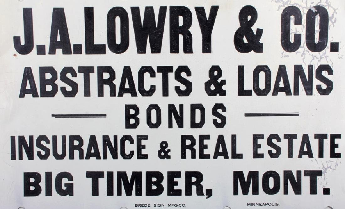 J.A. Lowry Sign from Big Timber Montana - 2