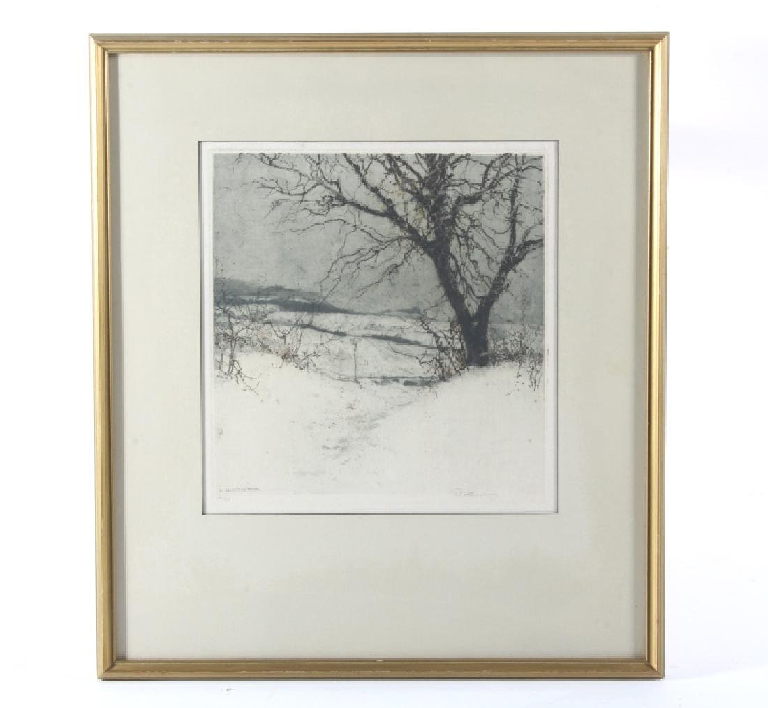 Luigi Kasimir Snow-Covered Landscape Etching