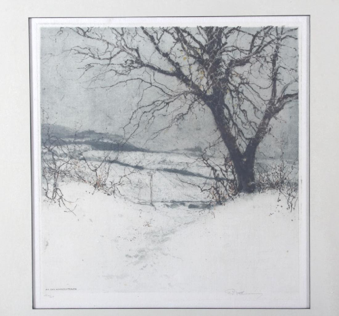 Luigi Kasimir Snow-Covered Landscape Etching - 2