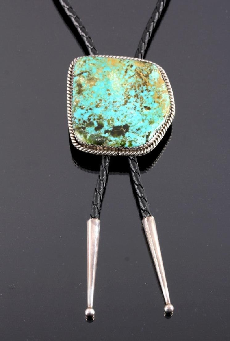 Navajo Sterling Silver and Turquoise Bolo Tie