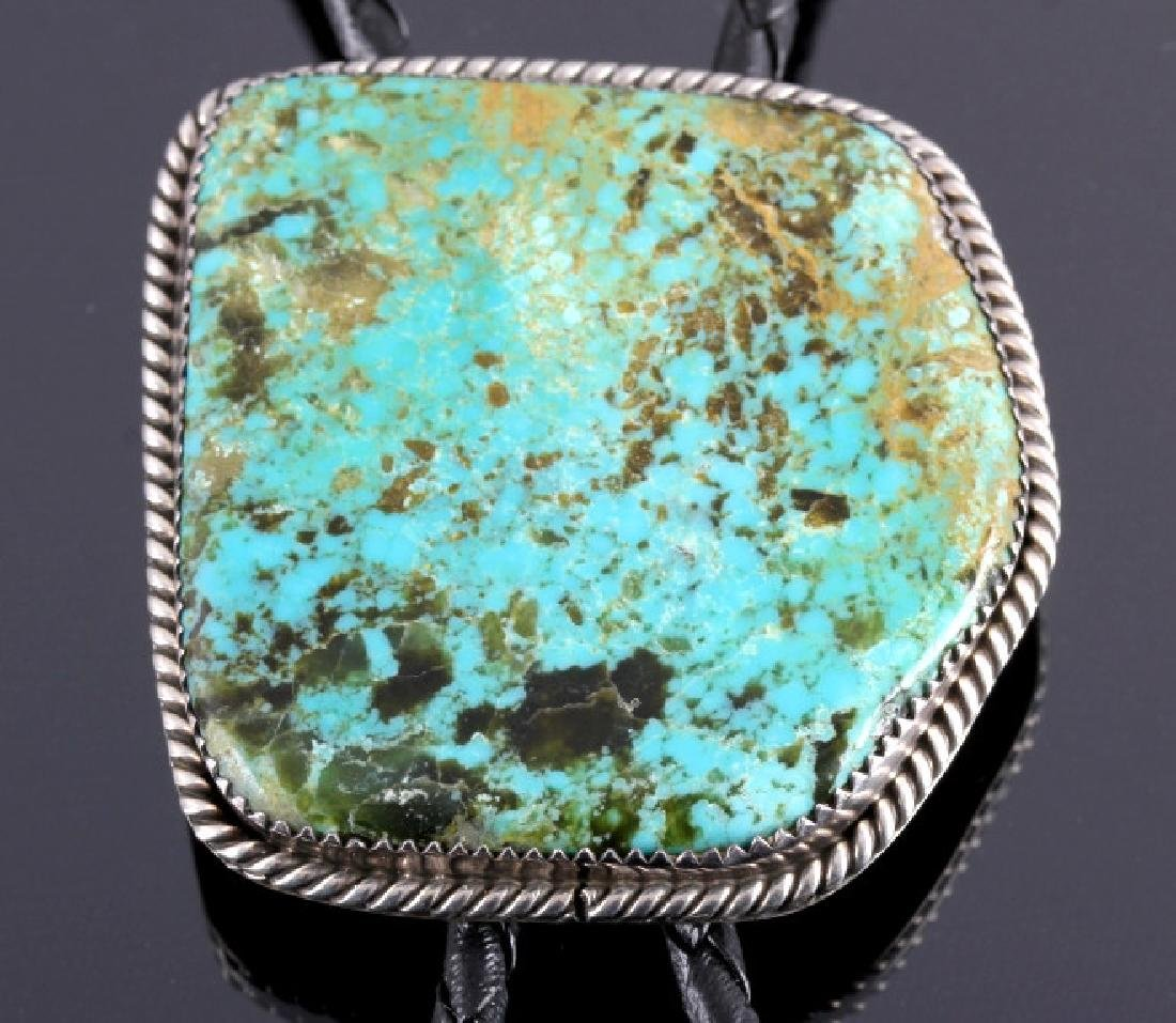 Navajo Sterling Silver and Turquoise Bolo Tie - 2