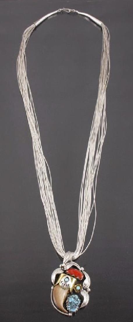 Navajo Multi-Stone & Bearclaw Pendant Necklace