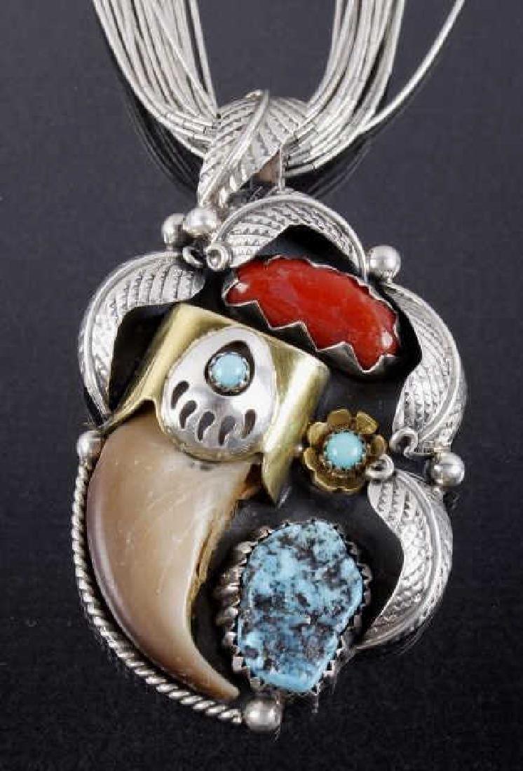 Navajo Multi-Stone & Bearclaw Pendant Necklace - 2