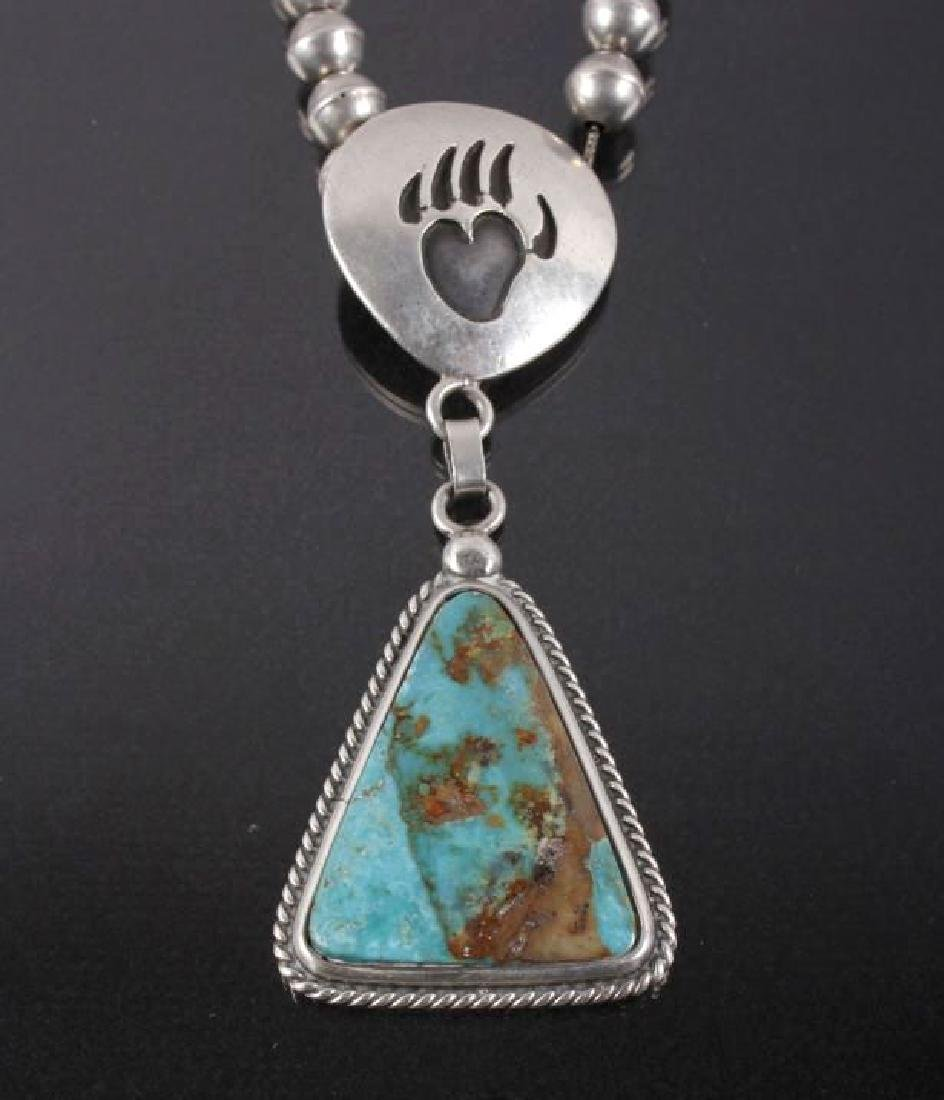 Navajo Royston Turquoise, Bear Paw Motif Necklace - 2