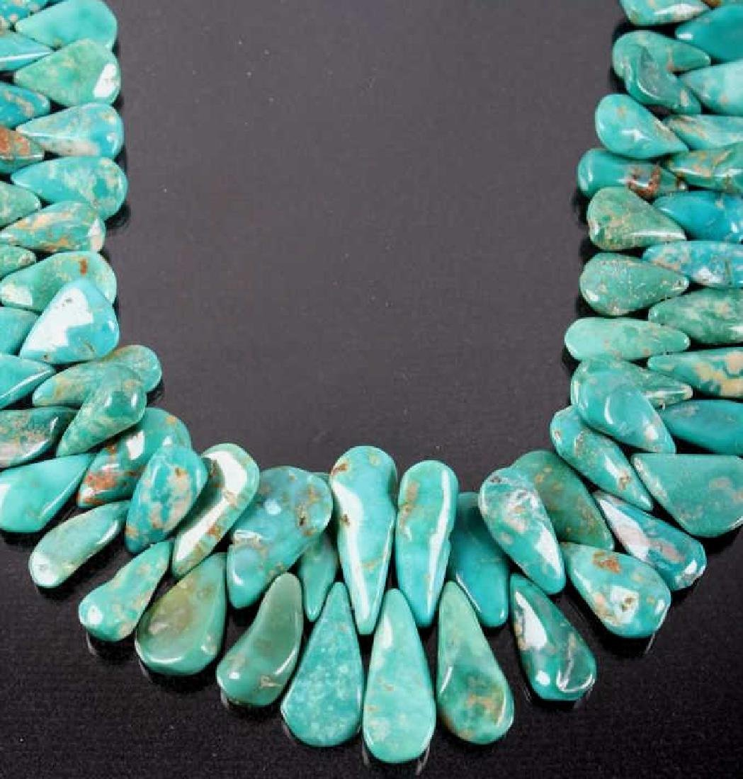 Navajo Turquoise Mountain Teardrop Nugget Necklace - 2