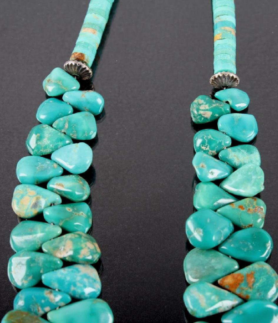 Navajo Turquoise Mountain Teardrop Nugget Necklace - 5