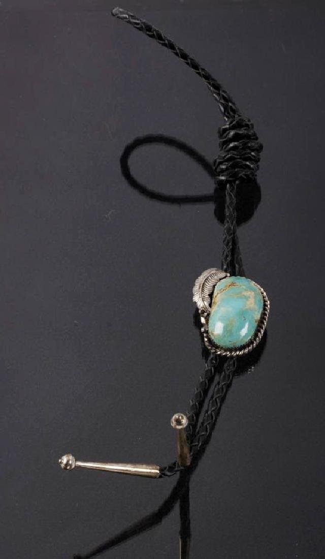 Signed Navajo Gem Quality Royston Turquoise Bolo