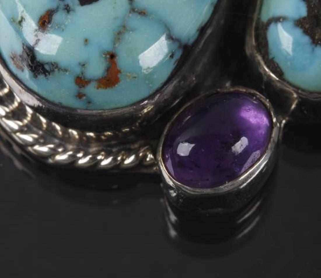 Navajo Dry-Creek Turquoise & Amethyst Pendant - 4