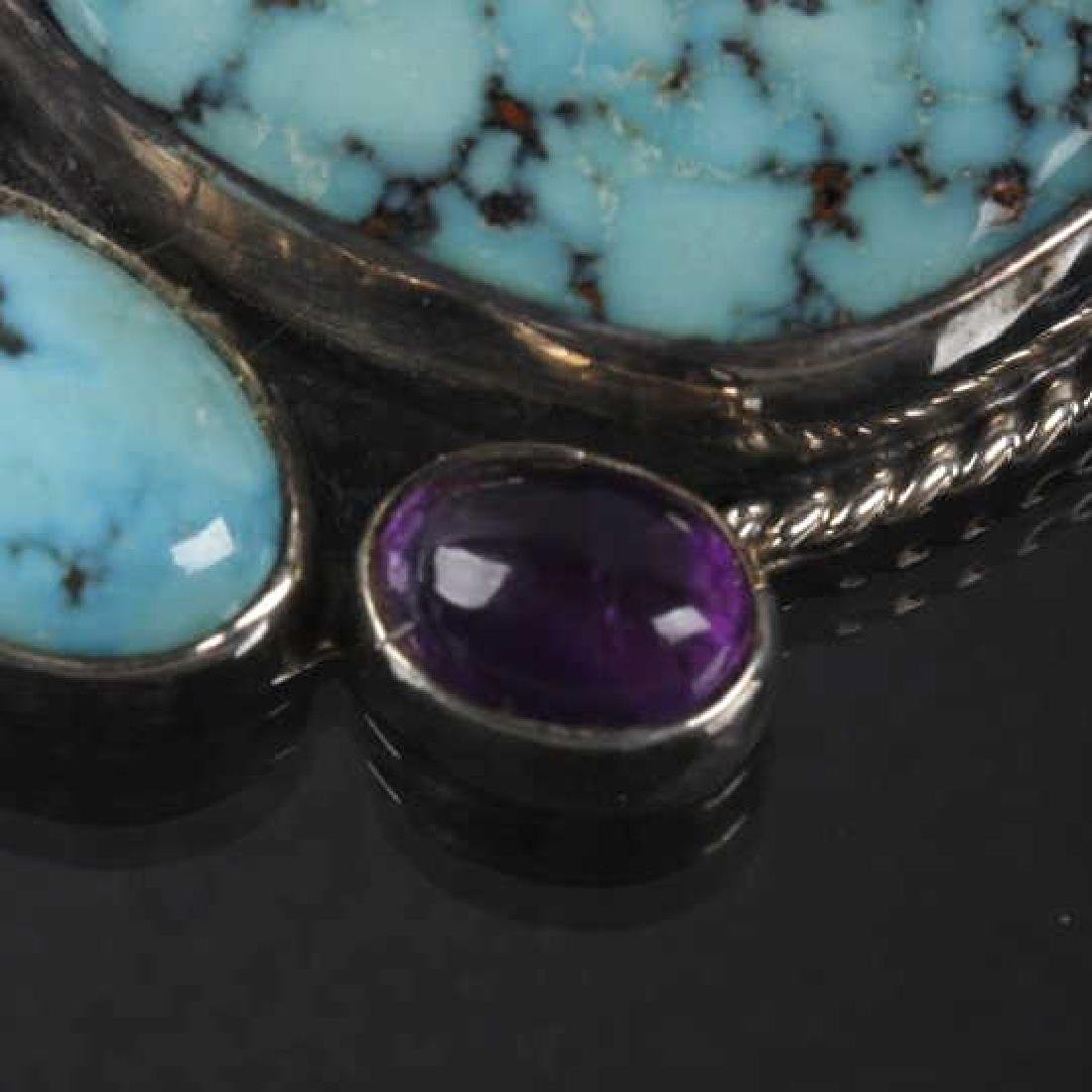 Navajo Dry-Creek Turquoise & Amethyst Pendant - 5