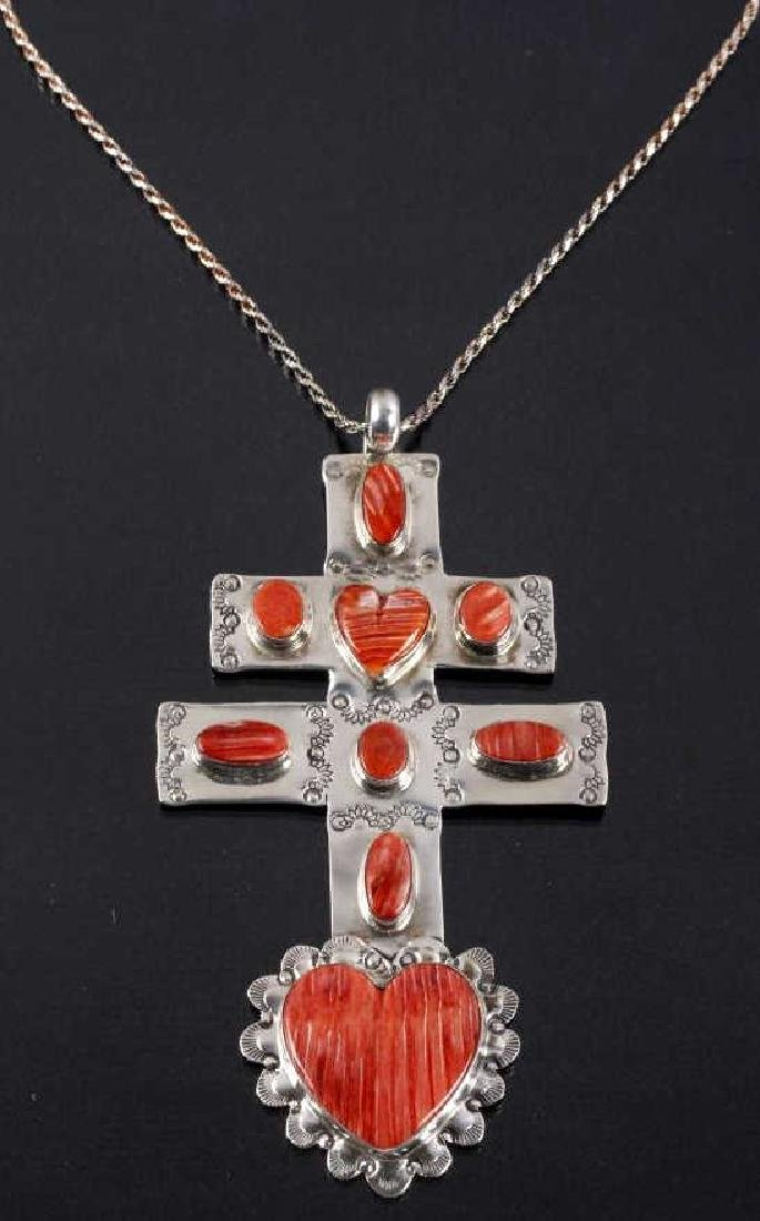 Navajo Spiny Oyster Cross of Lorraine Trade Cross