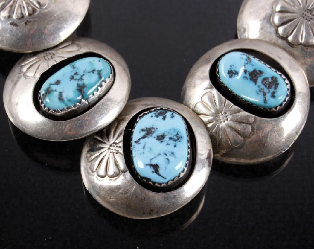 Navajo Silver Concho, Turquoise Shadowbox Necklace - 2