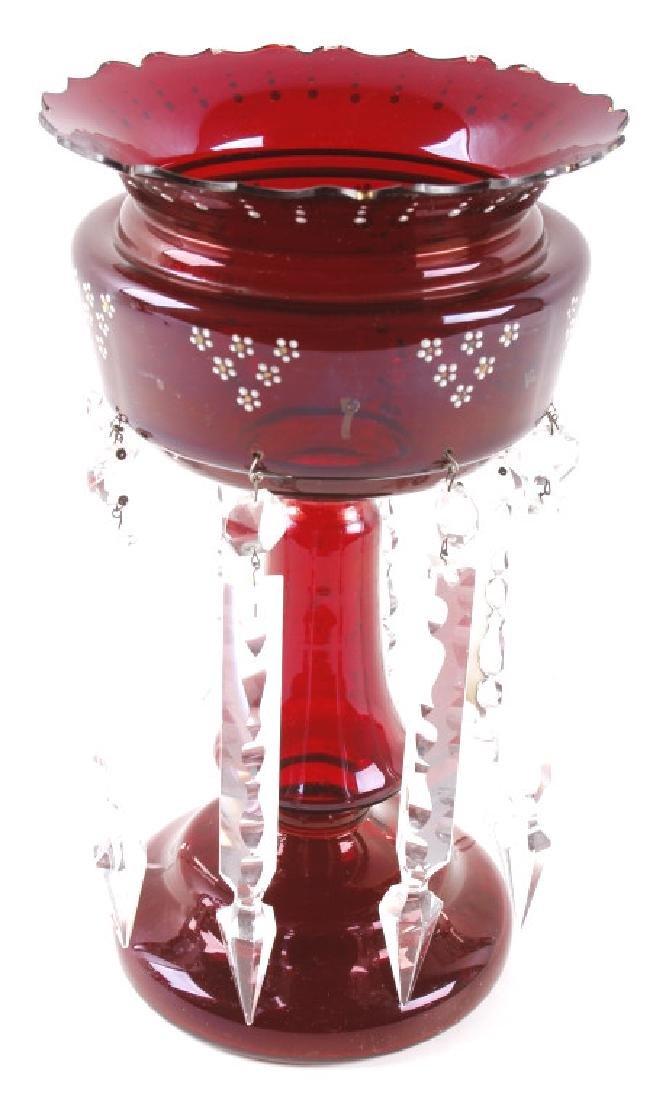 Vicrtorian Cranberry Lustre Vases Circa 1870-90 - 12