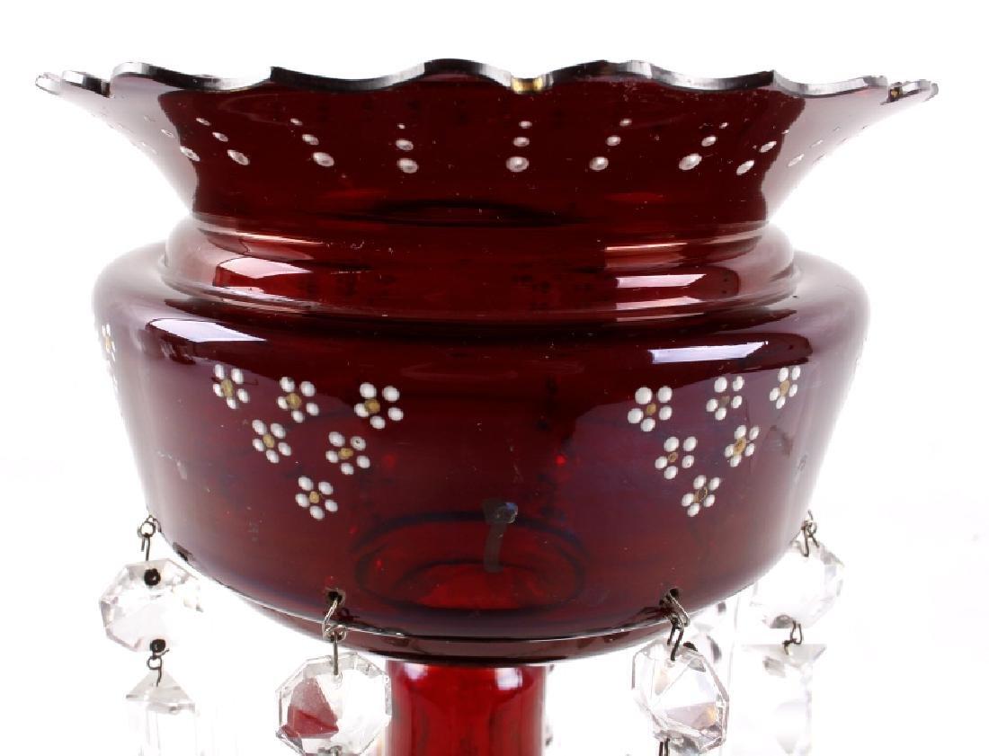 Vicrtorian Cranberry Lustre Vases Circa 1870-90 - 14