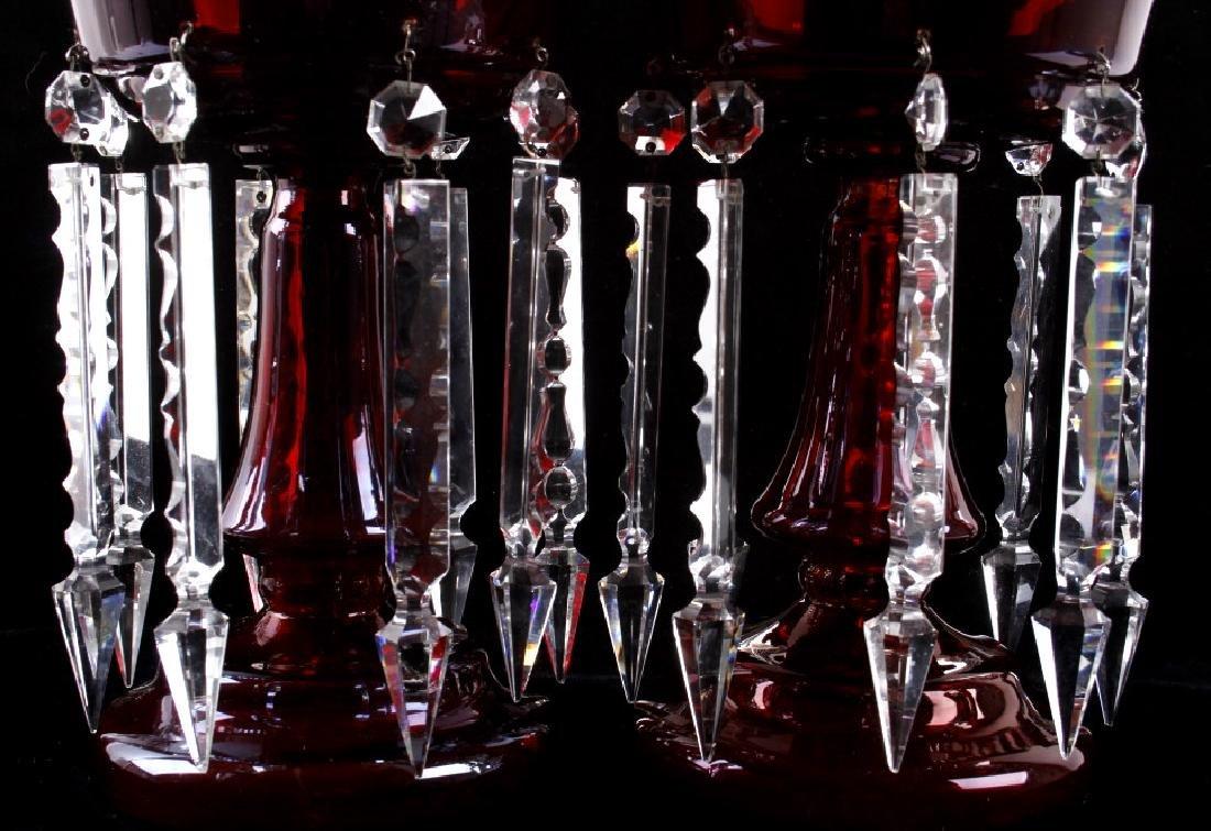 Vicrtorian Cranberry Lustre Vases Circa 1870-90 - 2