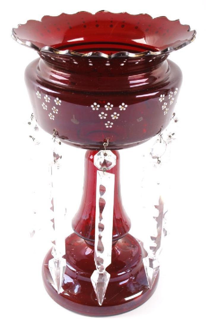 Vicrtorian Cranberry Lustre Vases Circa 1870-90 - 3