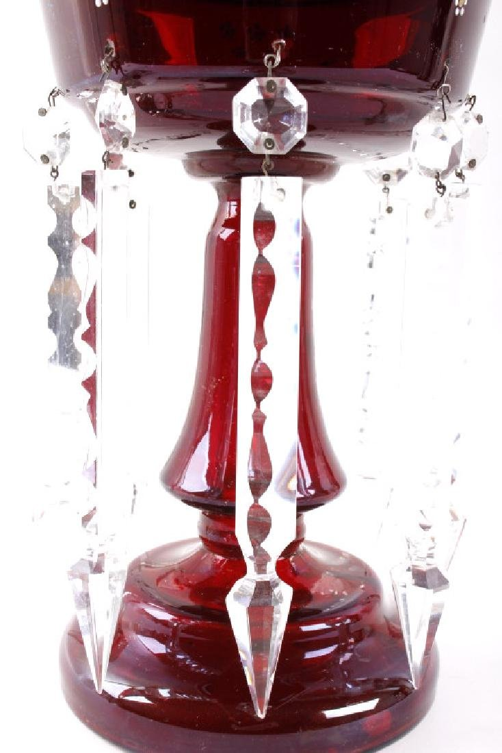 Vicrtorian Cranberry Lustre Vases Circa 1870-90 - 7