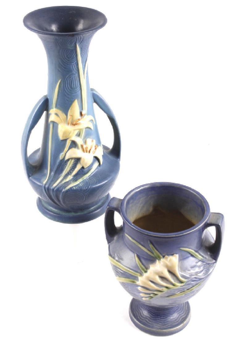 Roseville Zephyr Lily & Freesia Pattern Vases (2)