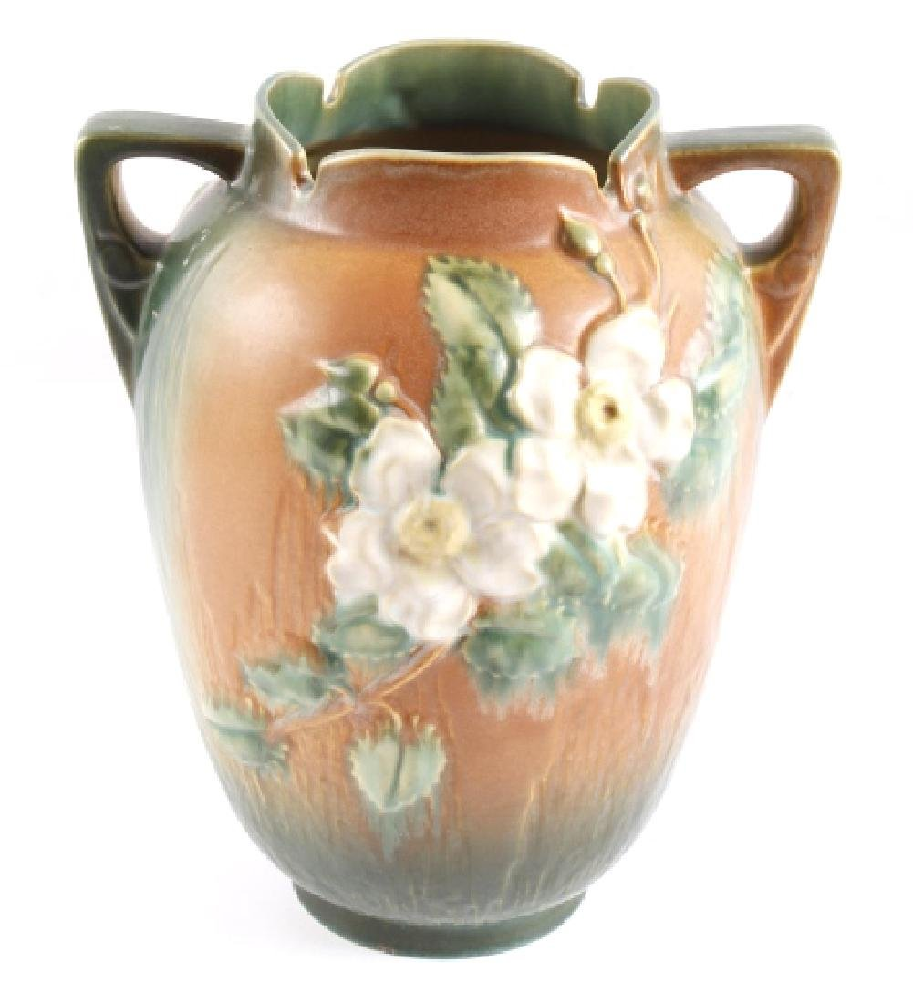 """Roseville White Rose Pattern 12"""" Brown Vase"""