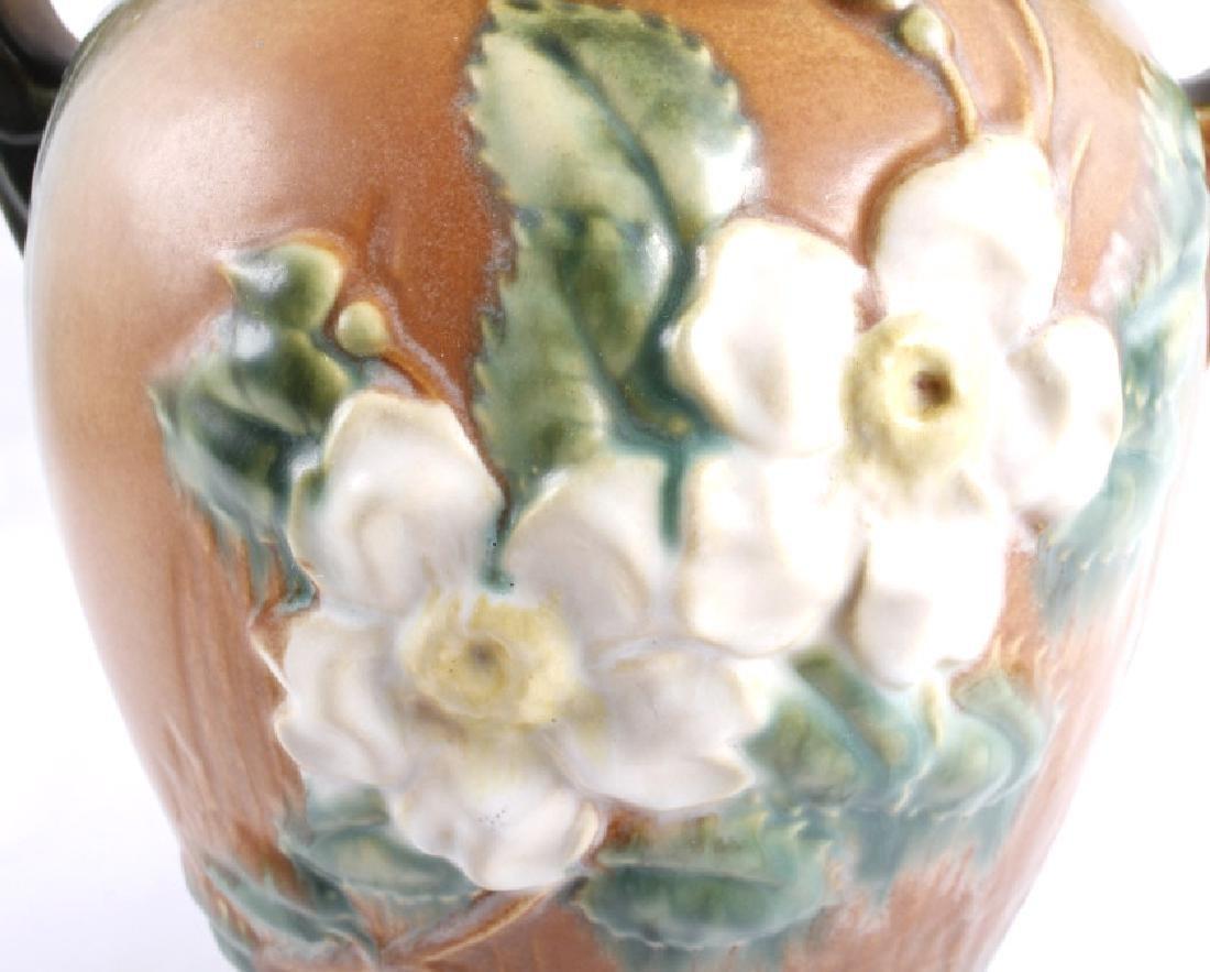 """Roseville White Rose Pattern 12"""" Brown Vase - 4"""