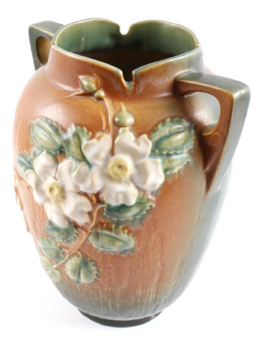 """Roseville White Rose Pattern 12"""" Brown Vase - 5"""