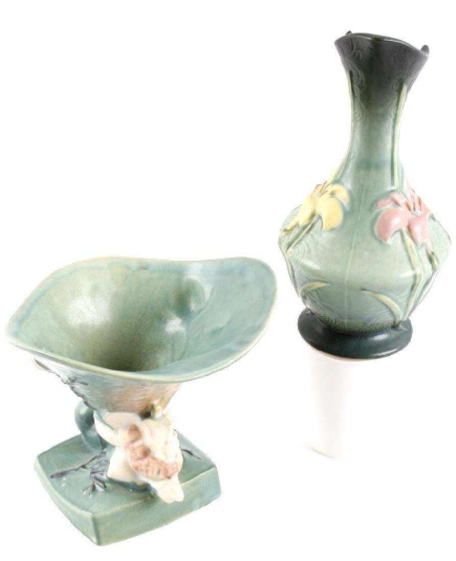 Roseville Green Zephyr Lily & Magnolia Vases