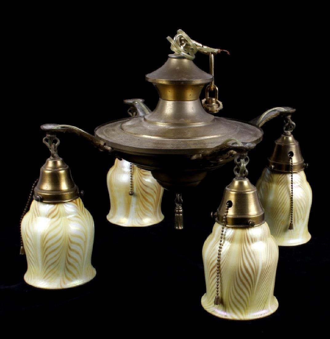 Brass Lamp w/ Steuben Style Art Glass Shades