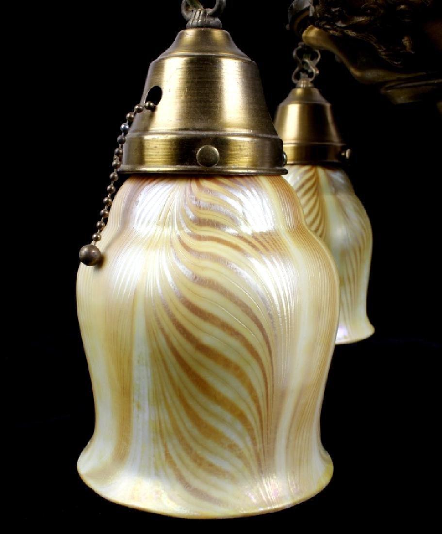 Brass Lamp w/ Steuben Style Art Glass Shades - 6