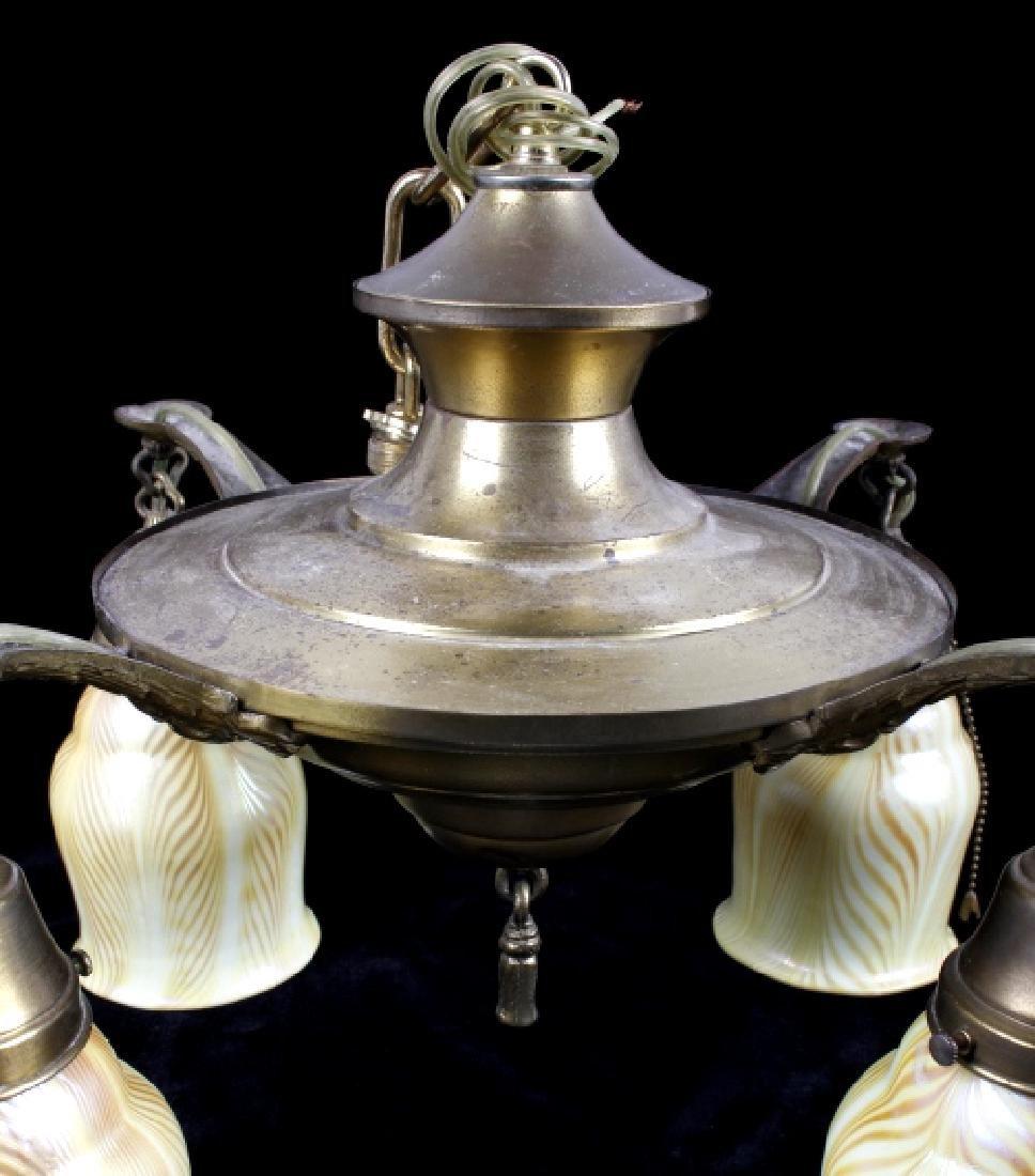 Brass Lamp w/ Steuben Style Art Glass Shades - 7
