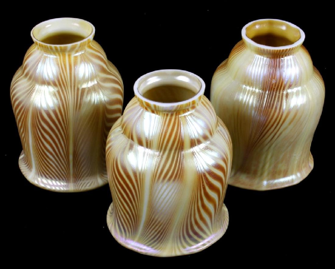 Steuben Style Zebra Pattern Art Glass Lamp Shades