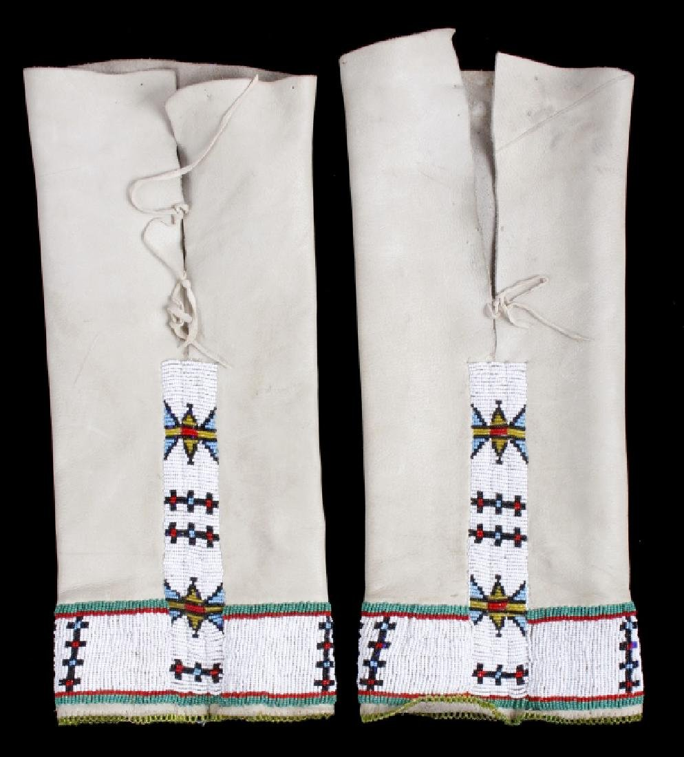 Sioux Tanned Hide Trade Seed Beaded Leggings