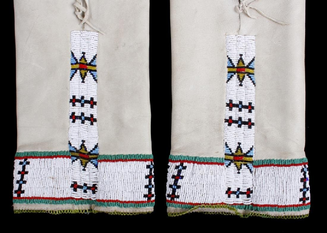 Sioux Tanned Hide Trade Seed Beaded Leggings - 2
