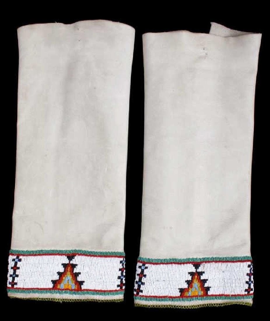 Sioux Tanned Hide Trade Seed Beaded Leggings - 3
