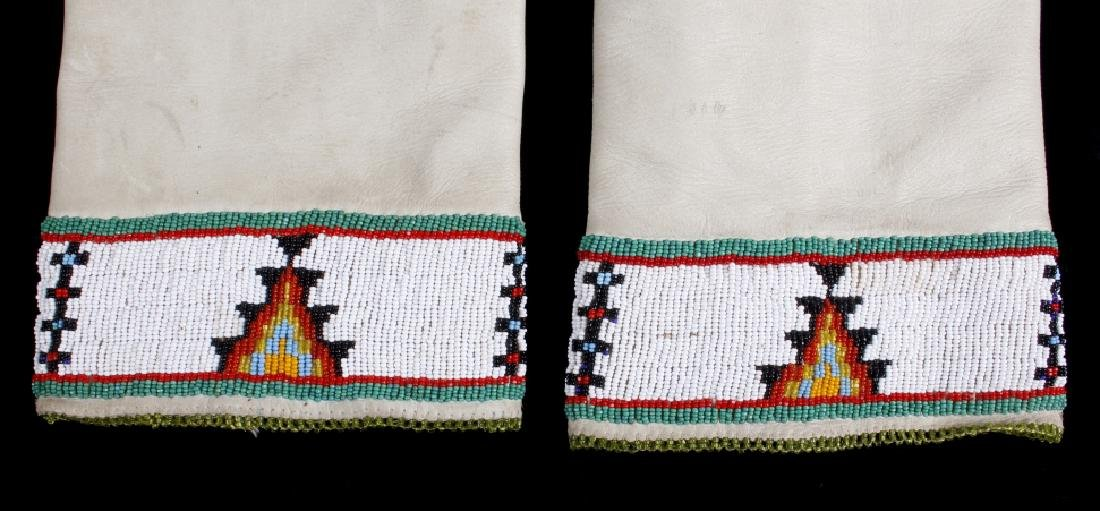 Sioux Tanned Hide Trade Seed Beaded Leggings - 4