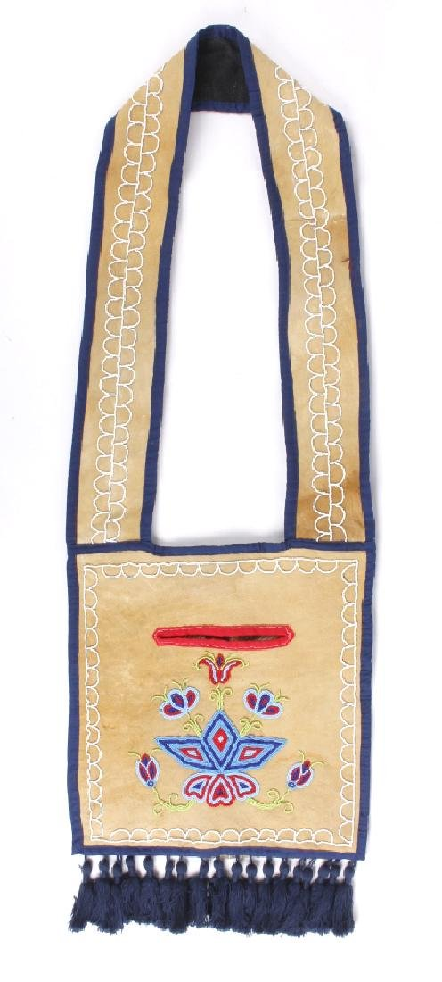 Ojibwa Native Indian Beaded Leather Bandolier Bag