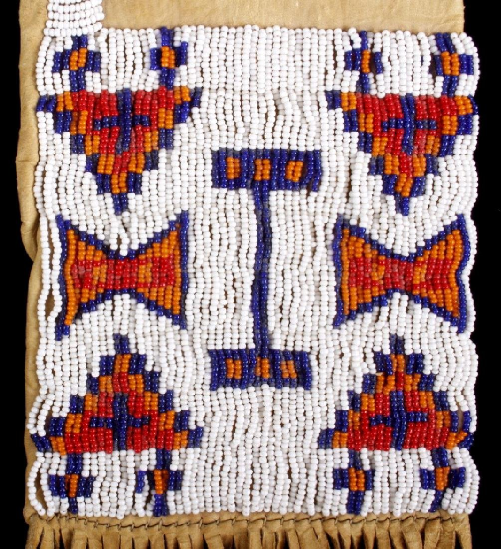Sioux Polychrome Beaded Leather Pipe Bag - 6