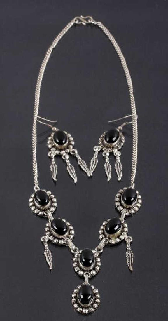 Navajo Old Pawn Silver & Onyx Necklace + Earrings