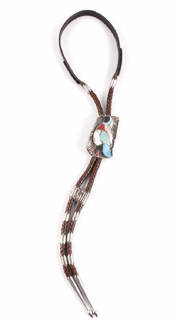 Ornate Navajo Multi-Stone Bird Effigy Bolo-Tie
