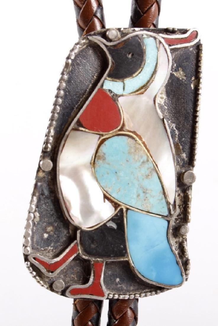 Ornate Navajo Multi-Stone Bird Effigy Bolo-Tie - 2