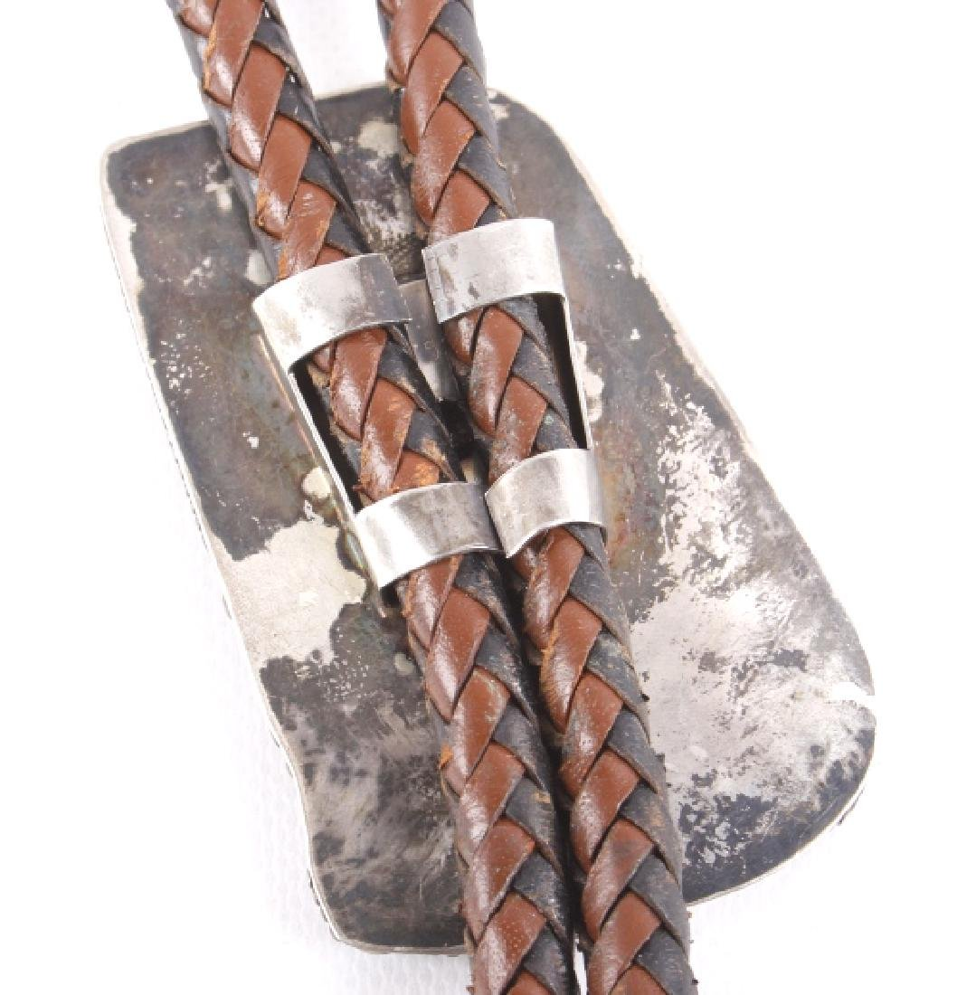 Ornate Navajo Multi-Stone Bird Effigy Bolo-Tie - 7