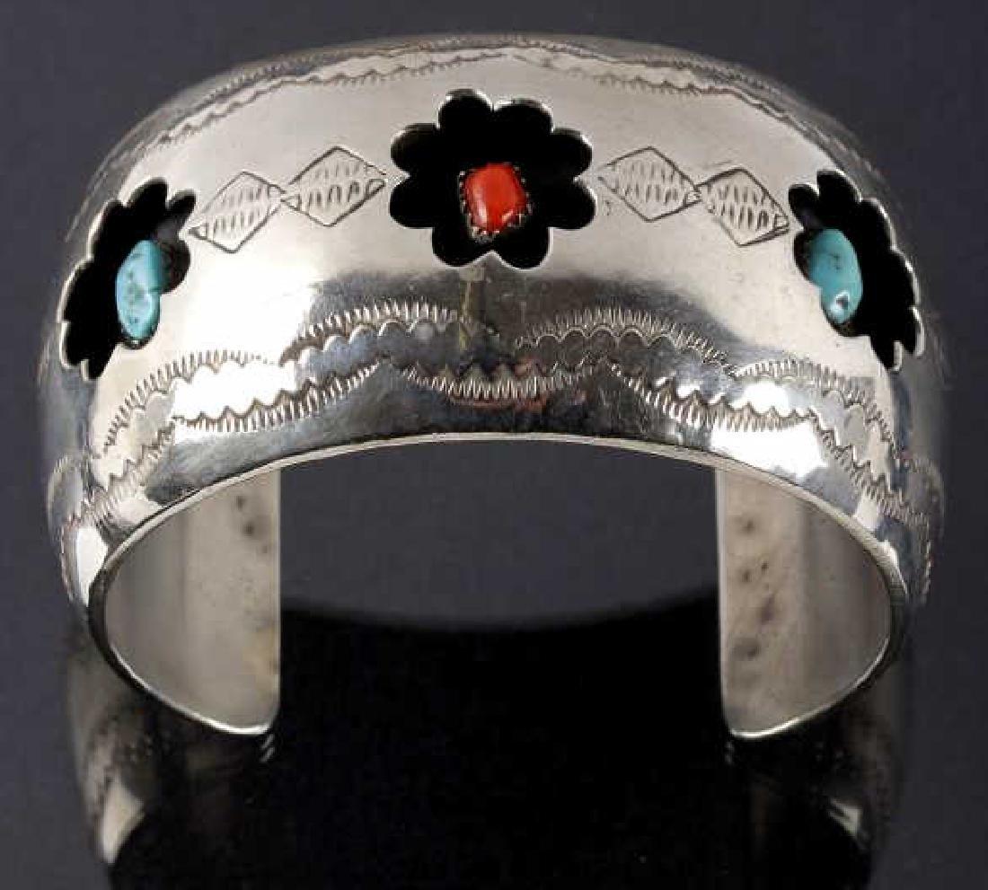 Navajo Engrave Silver & Multistone Shadowbox Cuff