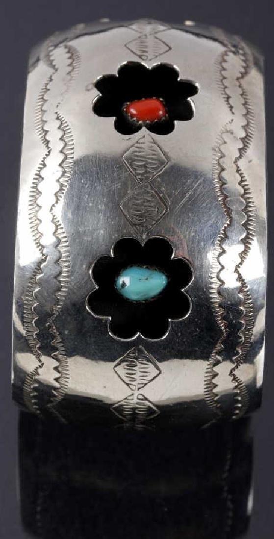 Navajo Engrave Silver & Multistone Shadowbox Cuff - 3