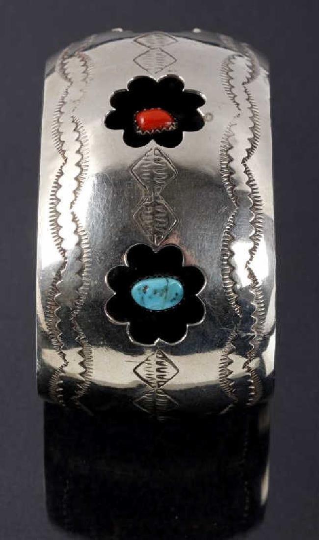 Navajo Engrave Silver & Multistone Shadowbox Cuff - 4