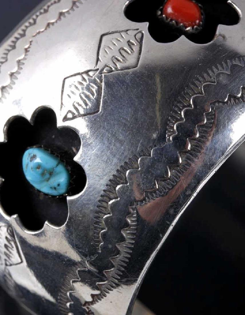 Navajo Engrave Silver & Multistone Shadowbox Cuff - 5