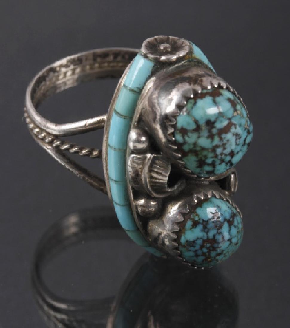 Navajo Nelson Burbank Lone Mountain Turquoise Ring