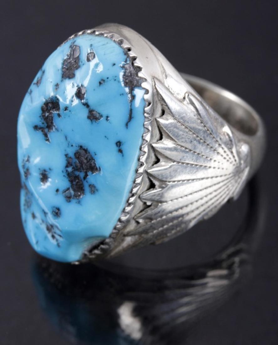 Navajo R. Leekya Sleeping Beauty Turquoise Ring - 2