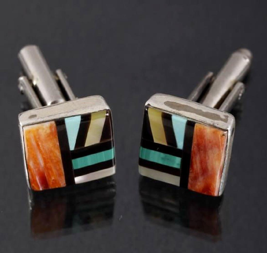 Signed Zuni Inlaid Multi-Stone Mosaic Cuff Links