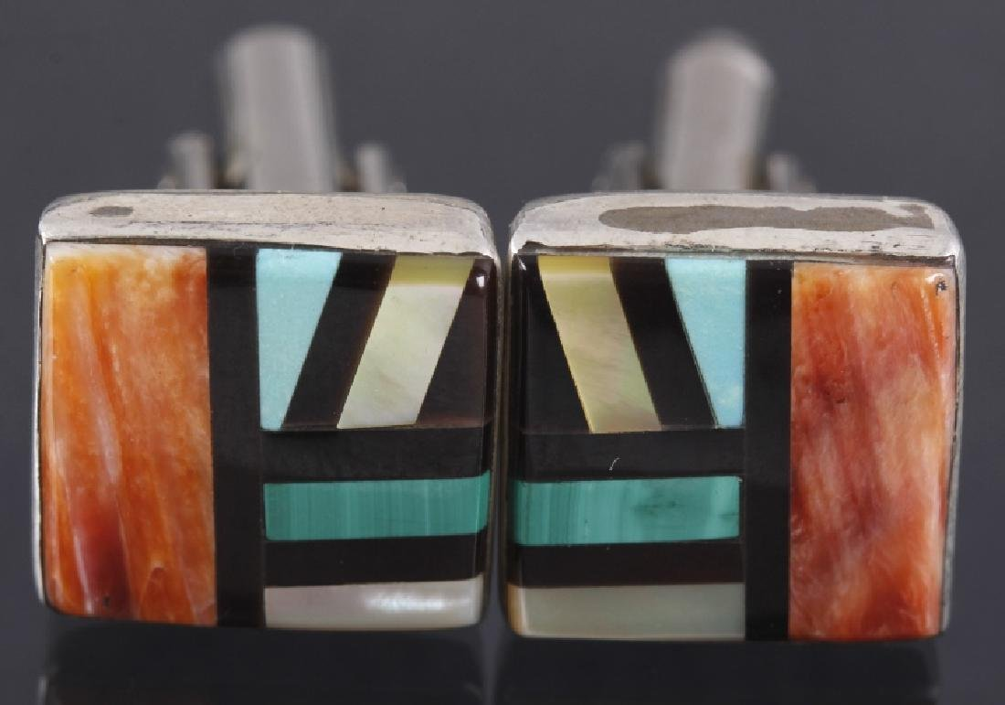 Signed Zuni Inlaid Multi-Stone Mosaic Cuff Links - 2