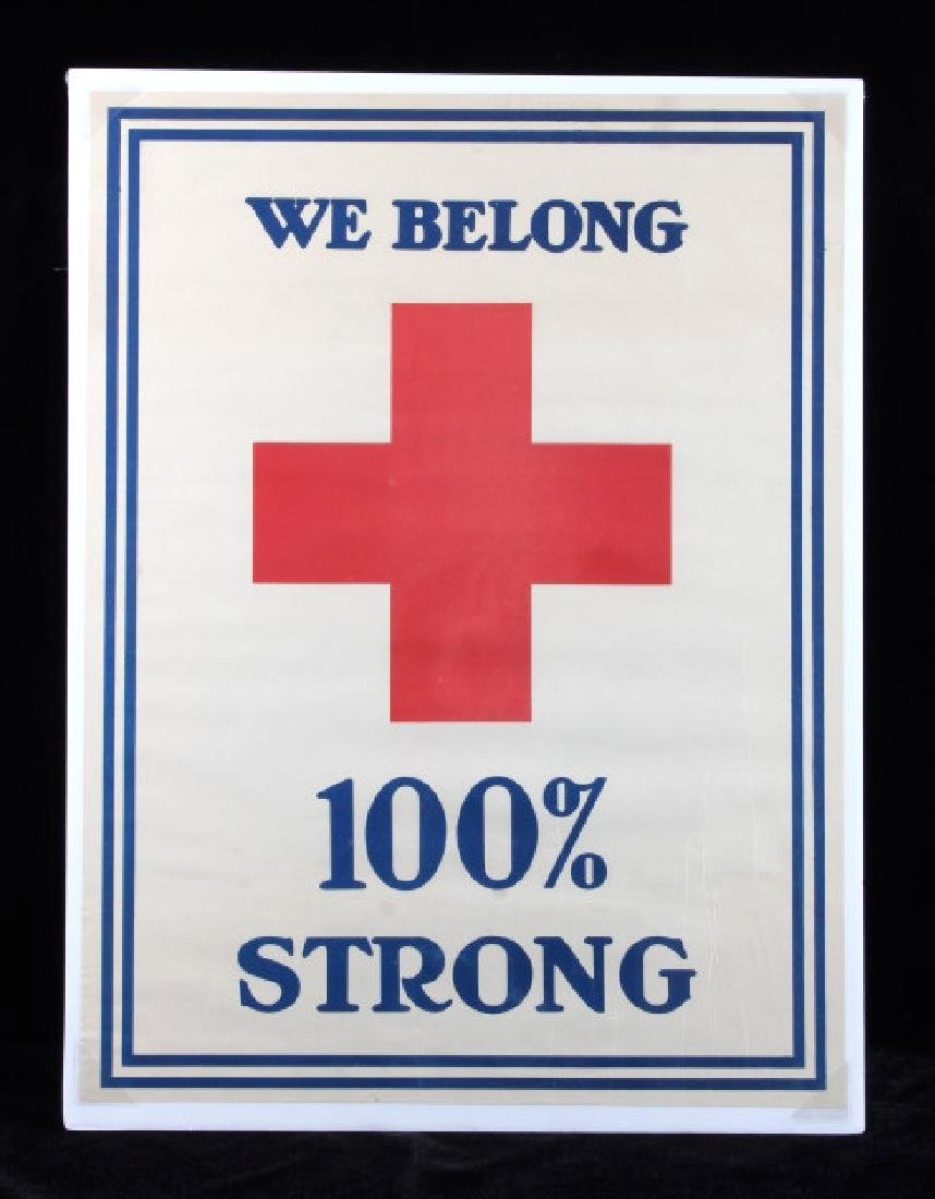 WWI Red Cross 100 Percent Strong Poster c. 1918