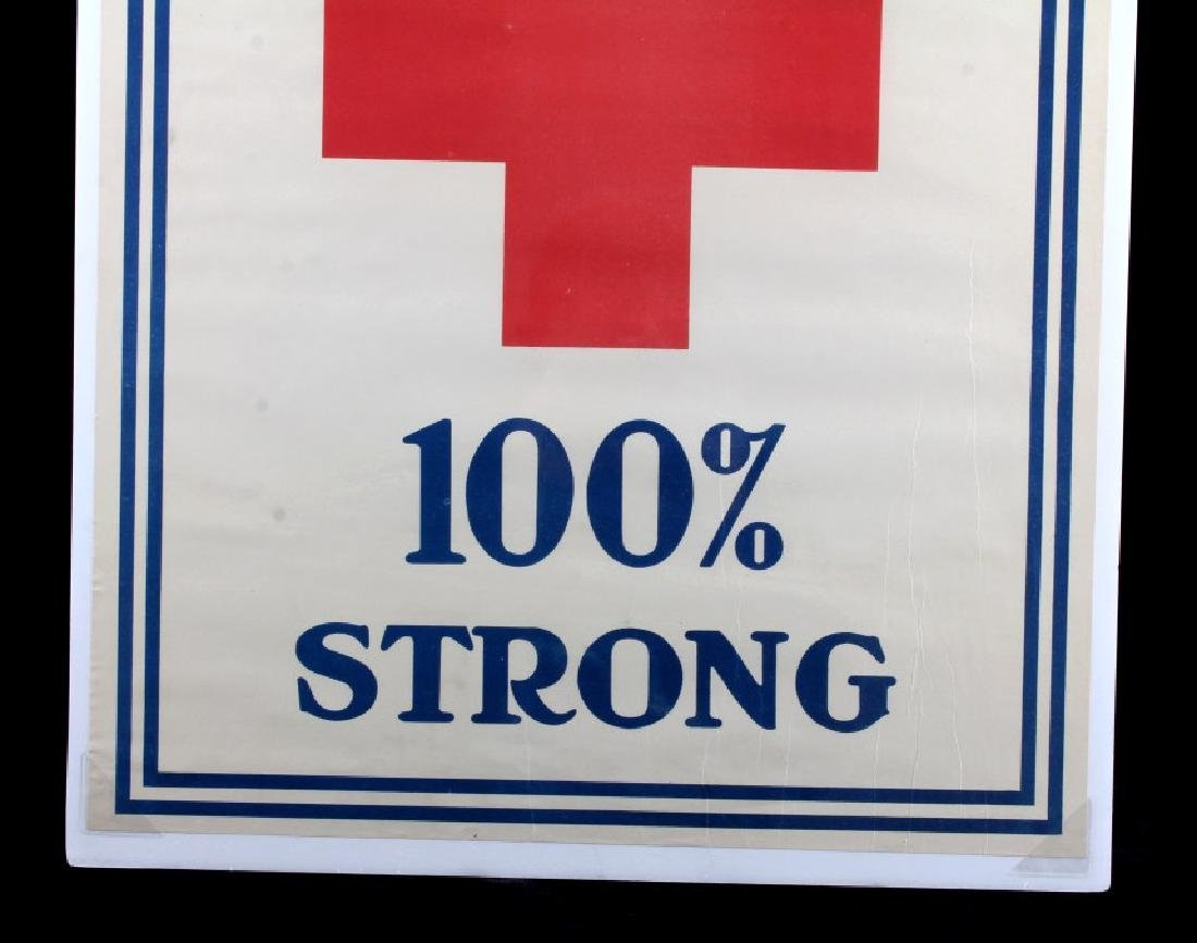 WWI Red Cross 100 Percent Strong Poster c. 1918 - 3