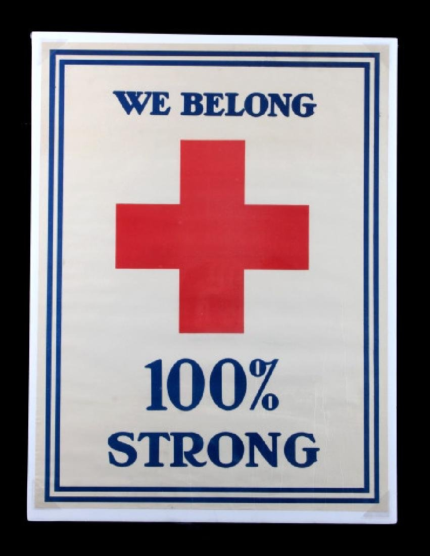WWI Red Cross 100 Percent Strong Poster c. 1918 - 7